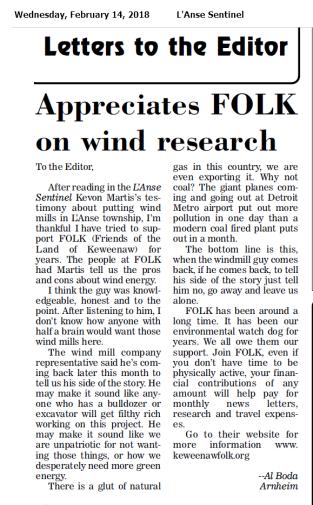 Appreciates FOLK on wind Research