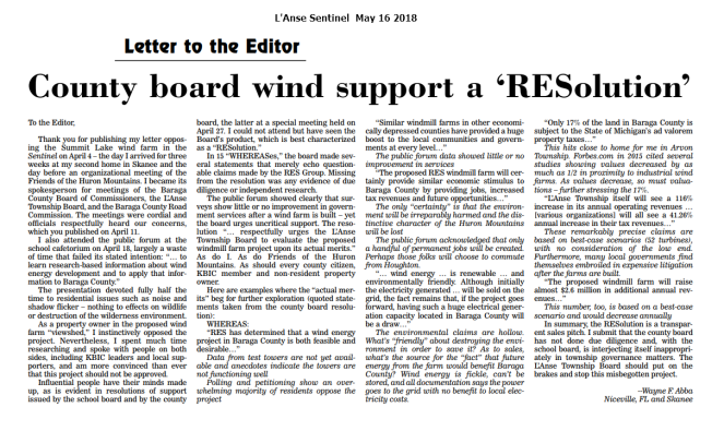 County Board wind support a 'RESolution'