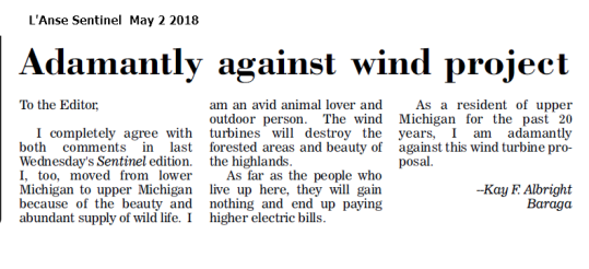 Adamantly against wind project