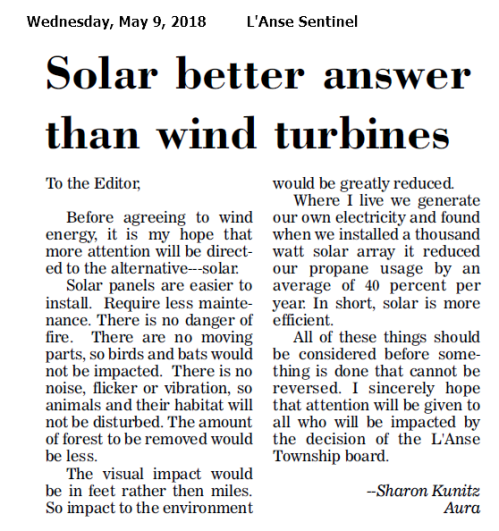 Solar better answer than wind turbines