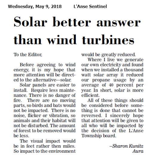 Solar better answer than wind turbines
