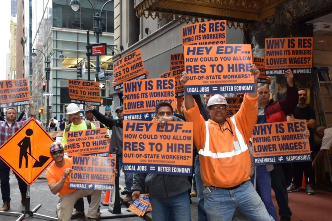 New York State Laborers Organizing Fund members hold a rally