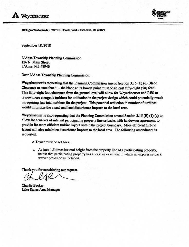 This Letter from Weyerhaeuser was made available by the Planning Commission