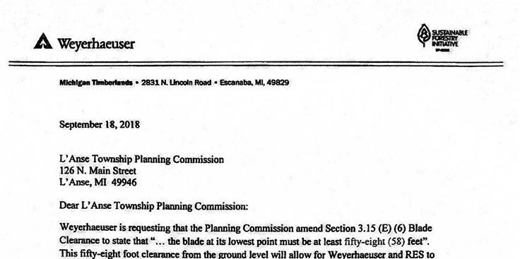 Letter from Weyerhaeuser made available by the Planning