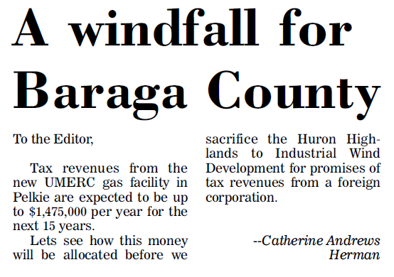 A windfall for Baraga County?