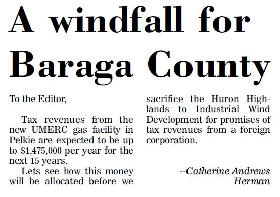 A windfall for Baraga County?