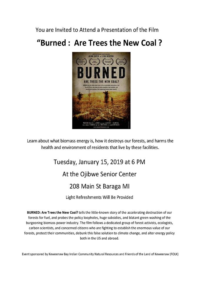 Event: Movie Presentation - Burned: Are trees the new coal?