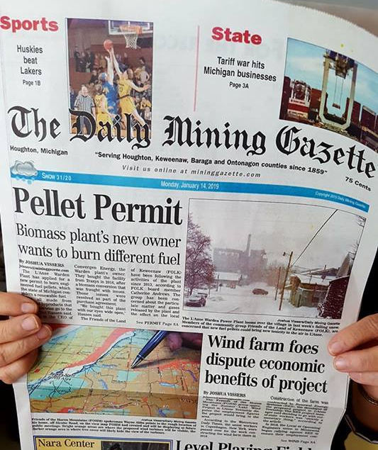 mining gazette 1-14-2019 front page